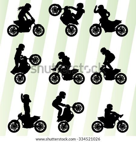 Motorcycle performance extreme stunt driver man vector background concept set - stock vector