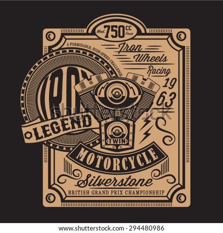 Motorcycle piston Silverstone typography, t-shirt graphics, vectors - stock vector