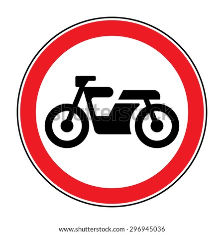 Motorcycle prohibition sign. No motorcycle or no parking sign. Vector sign riding on motorcycles is prohibited - stock vector