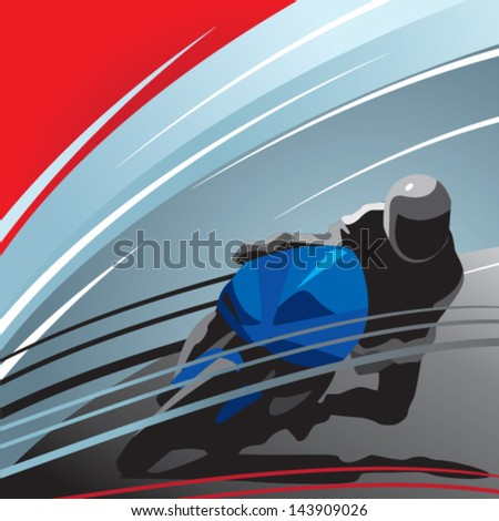 motorcycle racer, front view - stock vector