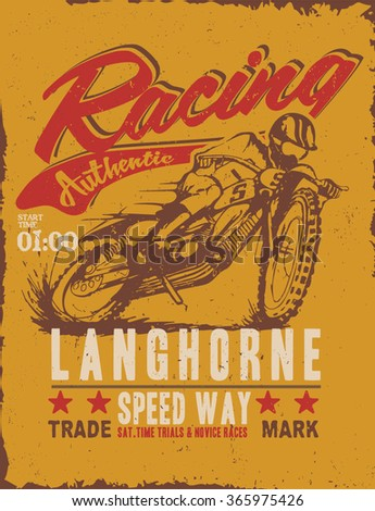 motorcycle racer quality hand made . motocross drawing label. Tee print design