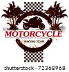 motorcycle racing shield with motorbike and rider - stock vector