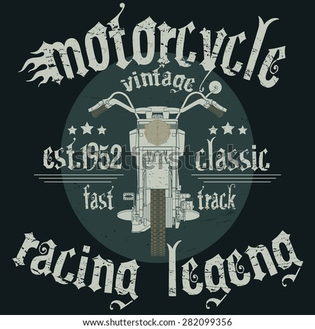 Motorcycle Racing Typography Graphics. Classic fast vintage bike. T-shirt Design, vector illustration