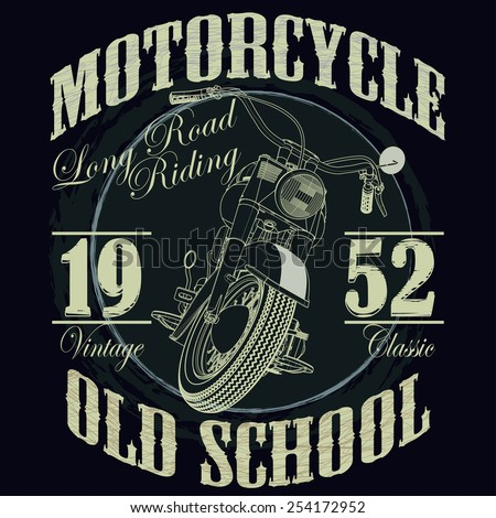 Motorcycle Racing Typography Graphics. Old school bike. T-shirt Design, vector illustration - stock vector