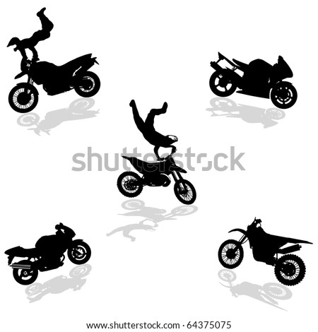 Motorcycle Set silhouettes.Vectors - stock vector
