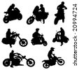motorcycle set vector - stock photo