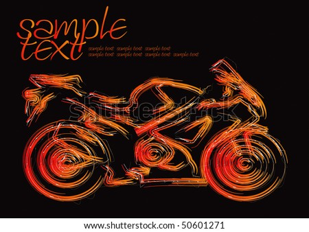 Motorcycle Silhouette Set 1 Vector Drawing - stock vector
