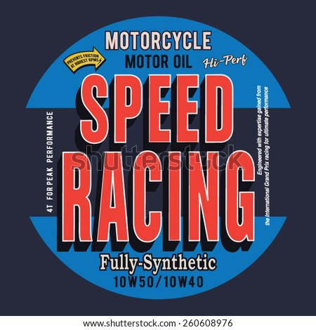 Motorcycle speed racing typography, t-shirt graphics, vectors - stock vector