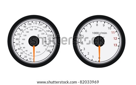 Motorcycle Speedometers Vector isolated on white - stock vector