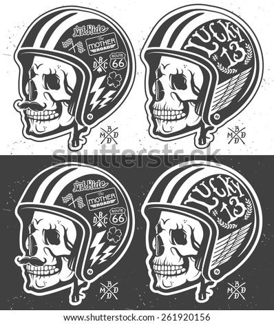 Motorcycle Themed handmade drawing helmet with skull.  - stock vector