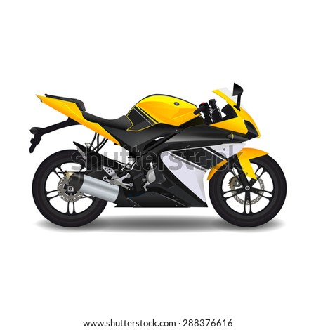 Motorcycle. yellow sport bike - stock vector
