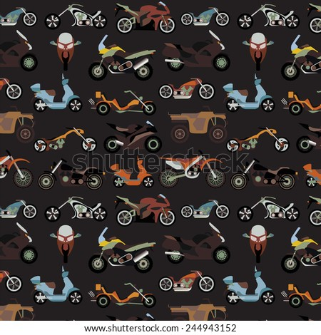 Motorcycles background, pattern. Vector illustration - stock vector
