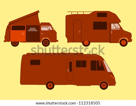 Motorhome Silhouette - Orange illustration of three sizes of RV or motorhome