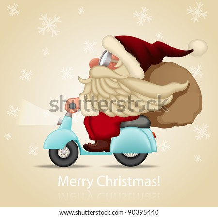 Motorized santa Claus delivery the gifts - stock vector
