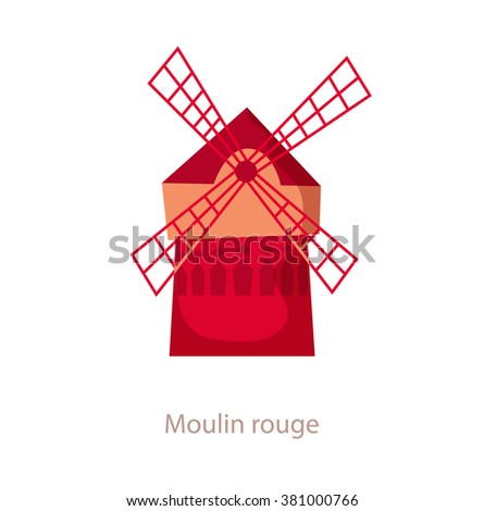 Moulin rouge. Paris landmark. Travel flat illustration. France famous cabaret building. Icon of Moulin rouge. Mill - stock vector