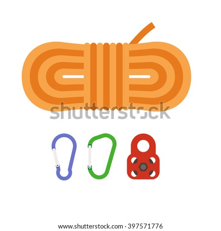 Mounaineering vector icon set. Climbing rope, carabiner and pulley block. Alpinism equipment collection isolated on white background - stock vector