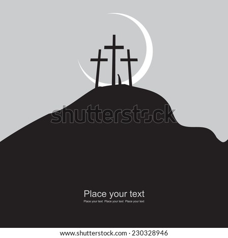 Mount Calvary with three crosses at night under the moon - stock vector