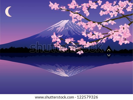 Mount Fuji reflected on Lake with cherry blossom flowers on foreground at sunset, Vector - stock vector