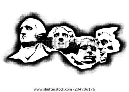 Mount Rushmore Memorial, EPS 8, CMYK. - stock vector