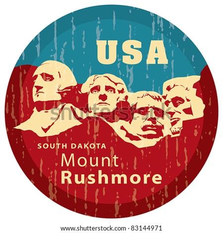 Mount Rushmore National Memorial, EPS 8, CMYK. USA landmark, Shrine of Democracy. South Dakota. - stock vector