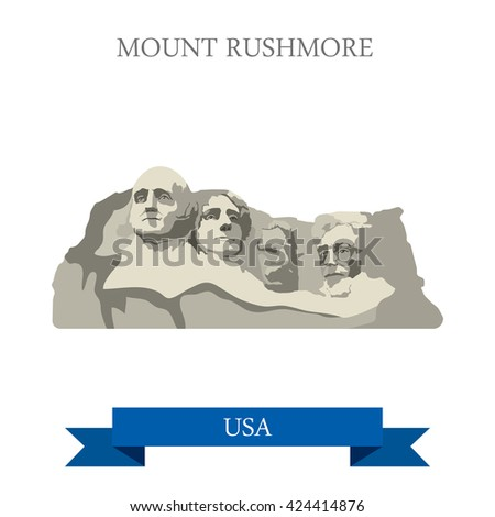 Mount Rushmore National Memorial South Dakota United States. Flat cartoon style historic sight showplace attraction web site vector illustration. World travel sightseeing North America USA collection. - stock vector