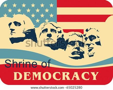 Mount Rushmore â?? Shrine of Democracy, EPS 8, CMYK. - stock vector