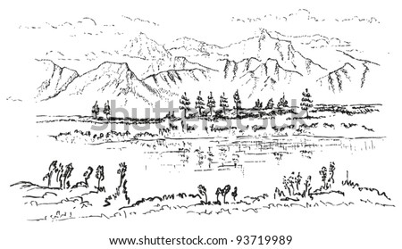 Mountain Drawing Outline Mountain and lake landscapeMountain Landscape Outline