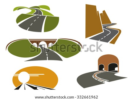Mountain and rural roads, underpass highways with tunnels and bridge, modern freeway with medium barrier icons, for travel or transportation design - stock vector