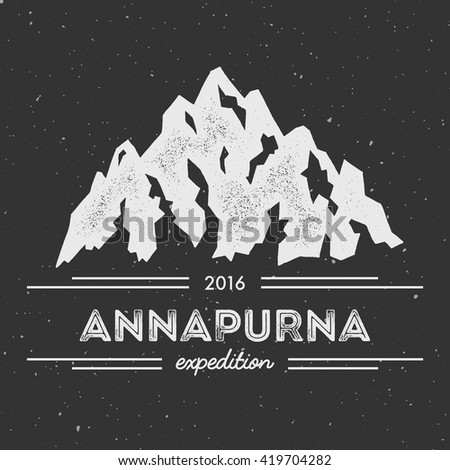 Mountain Annapurna outdoor adventure insignia. Climbing, trekking, hiking, mountaineering and other extreme activities logo template.