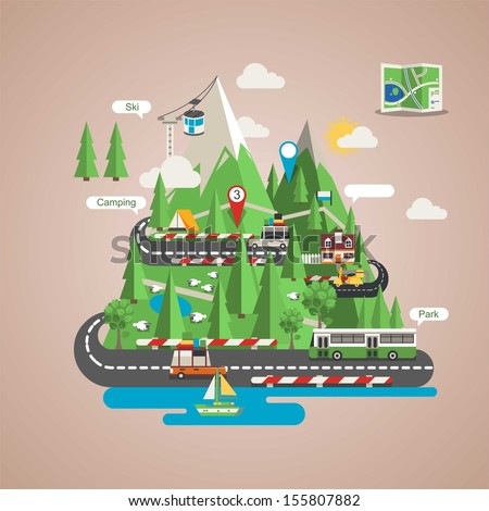 Mountain background, vector image with icons - stock vector