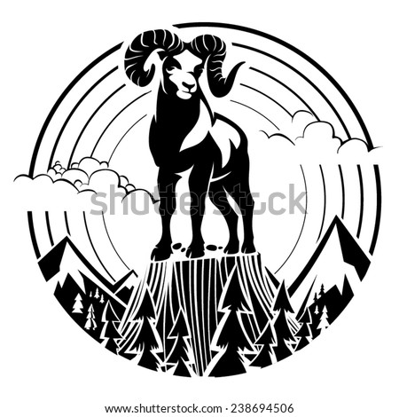 Mountain bighorn sheep. Vector illustration in the engraving style - stock vector