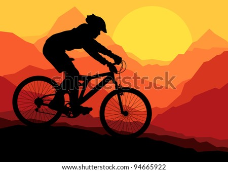 Mountain bike bicycle rider in wild mountain nature landscape background illustration vector - stock vector