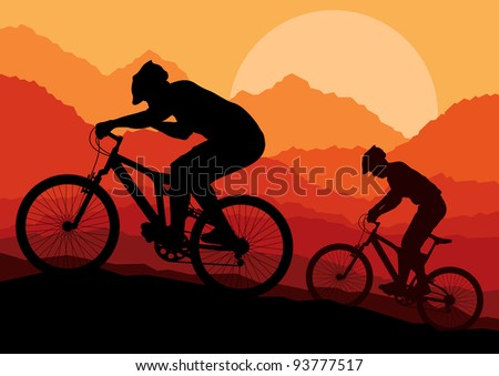 Mountain bike bicycle riders in wild nature landscape background illustration vector - stock vector