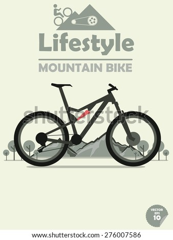 mountain bike on mountain and tree background,cycling on mountain,outdoor sport,mountain bike poster,mountain bike wallpaper - stock vector