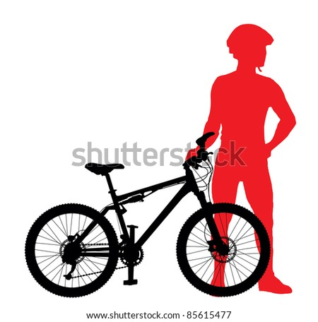Mountain bike rider silhouette vector image