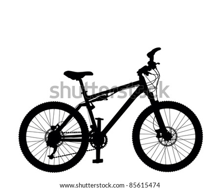 Mountain bike silhouette isolated on white background vector image - stock vector