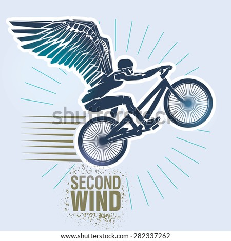 "Mountain bike trials. Vector illustration created in topic ""Second wind "" - stock vector"