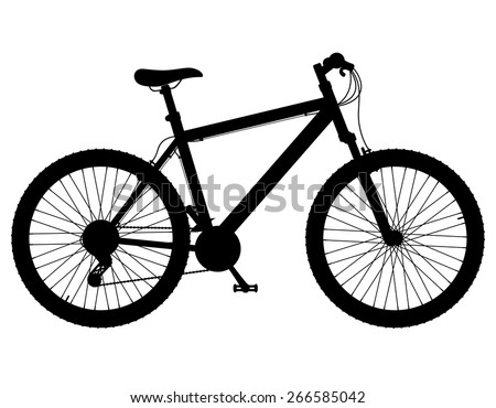 mountain bike with gear shifting black silhouette vector illustration isolated on white background - stock vector