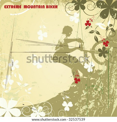 mountain biker - stock vector