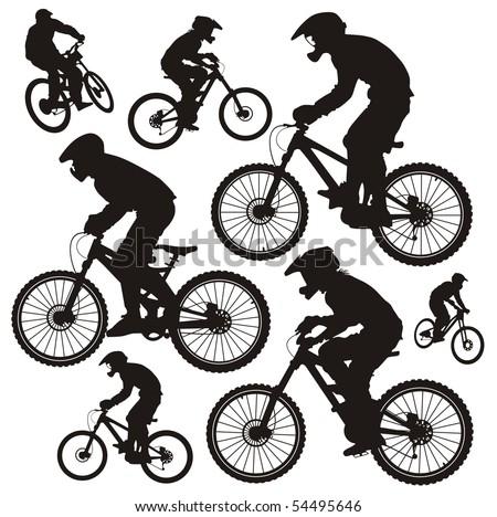 Mountain biker - stock vector
