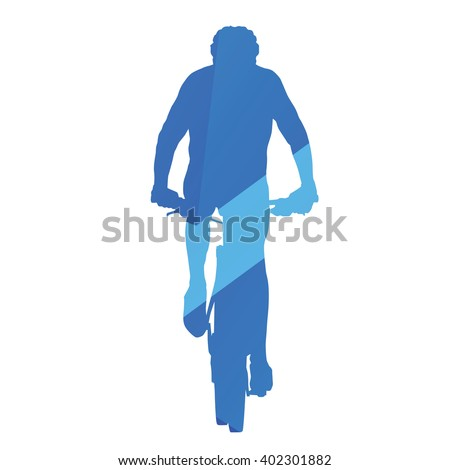 Mountain biker, front view, cycling, abstract blue vector silhouette - stock vector