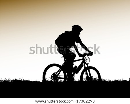 mountain biker girl silhouette - stock vector