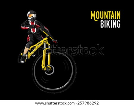 mountain biking illustration in black background, vector - stock vector