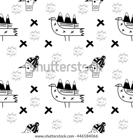Mountain birds black and white seamless pattern. Vector background template.