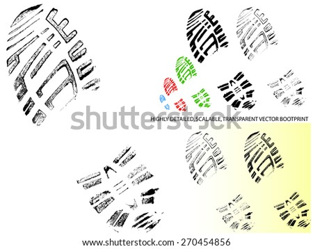 Mountain Bootprint -Detailed and transparent illustration  - stock vector