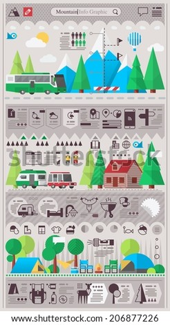 mountain & camping info graphic elements. vector background - stock vector