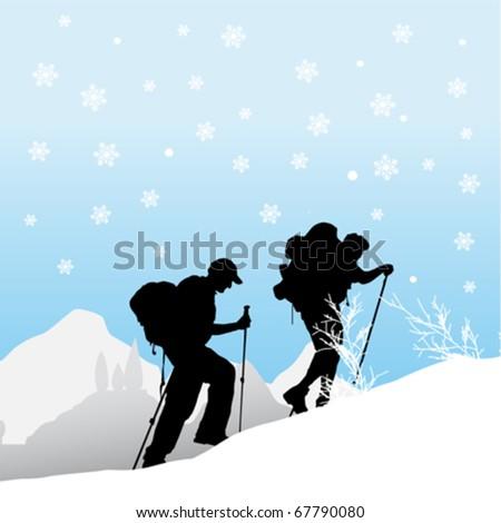 mountain climber - stock vector