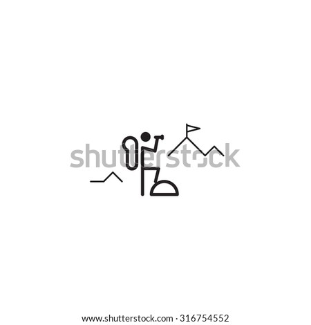 Mountain climber. Adventure club. Reaching goals. Thin line icon. - stock vector