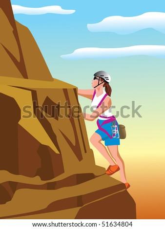 Mountain climber vector - stock vector