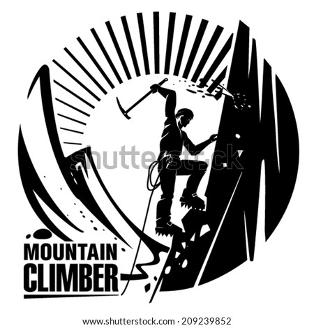Mountain climber. Vector illustration in the engraving style - stock vector